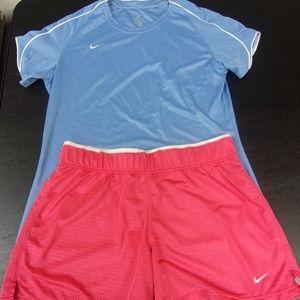 Nike Sky Blue Shirt / Nike Performance Pink Shorts
